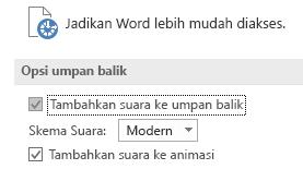 Tampilan sebagian dari pengaturan Kemudahan Akses Word