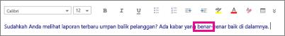 Isi pesan di Outlook Web App dengan satu kata disorot