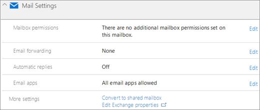 Cuplikan layar: Pengaturan email Office 365