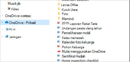 File Explorer terbuka dengan OneDrive-pribadi dipilih