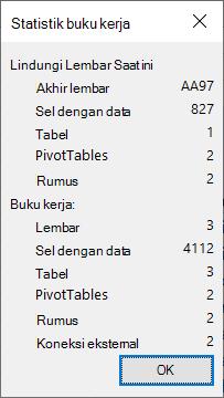 Dialog Statistik buku kerja.