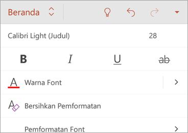 Tab Beranda, dengan opsi gaya font