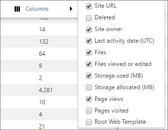 Opsi kolom untuk laporan penggunaan SharePoint