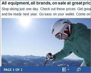 Contoh dokumen Word sebagai tentang selebaran diskon ski disematkan