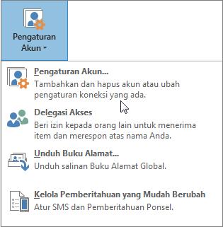 Opsi yang tersedia saat Anda memilih pengaturan akun di Outlook