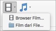 Cuplikan layar memperlihatkan Browser film dan film dari opsi File tersedia dari kontrol turun bawah Video. Pilih opsi untuk menyisipkan film ke presentasi PowerPoint Anda.