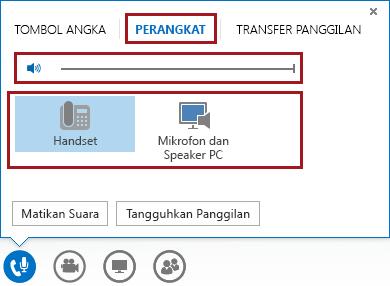 Cuplikan layar menu audio dalam rapat