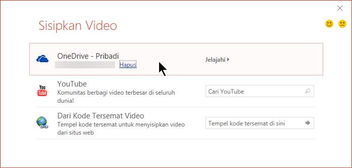 Dialog Sisipkan Video berisi opsi untuk membuka atau menyematkan video dari OneDrive.