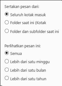 Lingkup Pencarian Outlook Web App