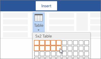 Menyisipkan tabel dengan penyeretan untuk memilih jumlah sel
