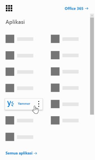 Peluncur aplikasi Office 365 dengan aplikasi Yammer disorot