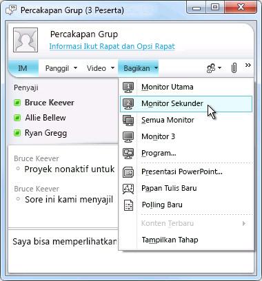 Jendela Microsoft Lync dengan opsi berbagi layar