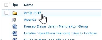 Pustaka dokumen SharePoint 2010 dengan folder disorot