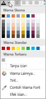 Palet warna font
