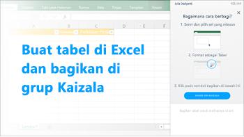 Cuplikan layar: Membuat tabel di excel dan bagikan di grup kaizala