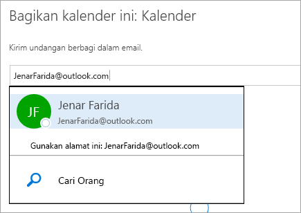 Cuplikan layar dialog Berbagi Kalender di Outlook.com.
