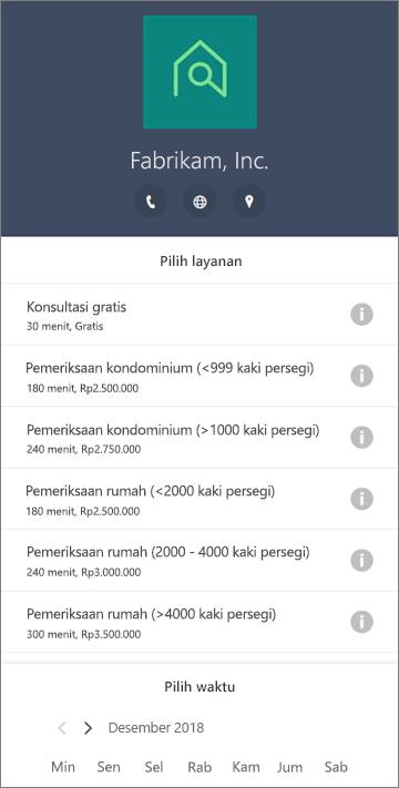 Contoh formulir pemesanan untuk rumah layanan bisnis