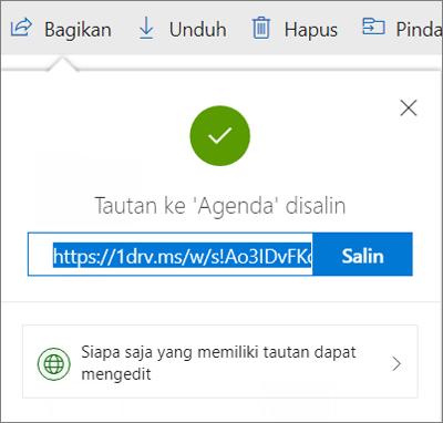 Konfirmasi Salin Tautan saat berbagi file melalui tautan di OneDrive