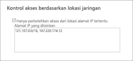 Opsi akses kontrol di pusat admin SharePoint
