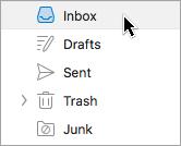 Memperlihatkan memilih folder di Outlook