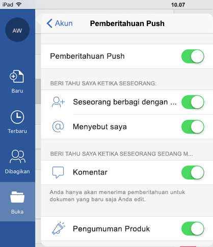 Ketuk tombol profil untuk mengonfigurasi pemberitahuan push untuk dokumen yang dibagikan