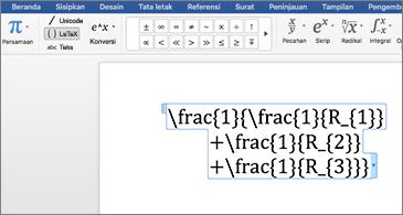Dokumen Word yang mencantumkan persamaan LaTeX