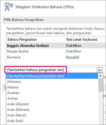 Daftar Tambahkan Bahasa Pengeditan Lain
