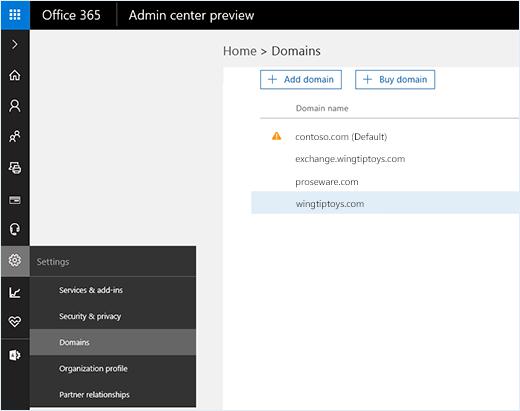 Cuplikan layar memperlihatkan Pusat admin Office 365 dengan opsi domain yang dipilih. Nama domain diperlihatkan pada halaman bersama dengan opsi untuk menambahkan atau membeli domain.