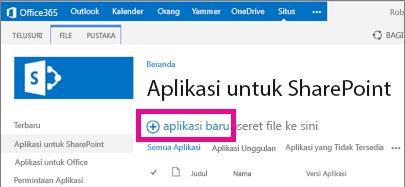 Link aplikasi baru dalam pustaka Aplikasi untuk SharePoint di Katalog Aplikasi