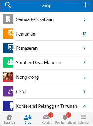 Cuplikan layar grup di aplikasi seluler Yammer