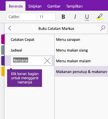 Cuplikan layar bagian yang diganti namanya di OneNote