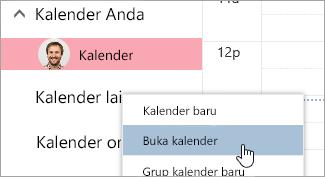 Cuplikan layar opsi buka kalender