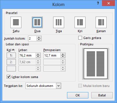 Kotak dialog Kolom