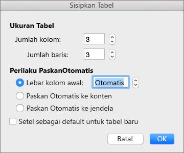 Perlihatkan pengaturan untuk membuat tabel kustom