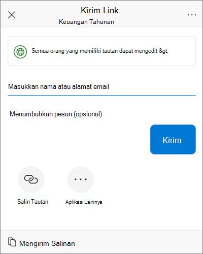 Cuplikan layar kotak dialog berbagi iOS.