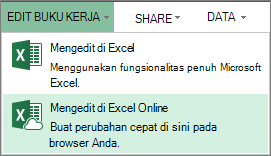 Edit di Excel Online di menu Edit Buku Kerja