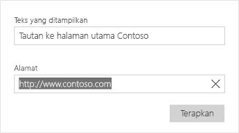 Dialog teks link Word Mobile