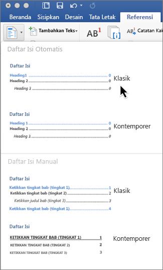 Pada tab Referensi, klik Daftar Isi, lalu pilih gaya Daftar Isi Otomatis dari galeri