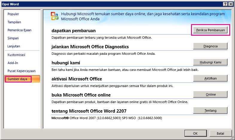 Memeriksa Pembaruan Office di Word 2007