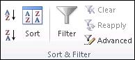 Grup Urutkan dan Filter pada tab Data