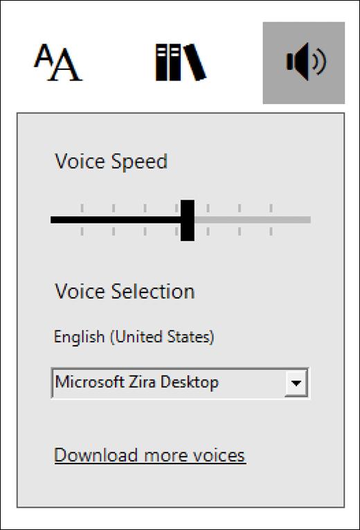 Menu kontrol suara di pembaca mendalam, Bagian dari alat pembelajaran untuk OneNote.