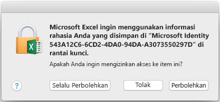 Perintah rantai kunci di Office 2016 untuk Mac