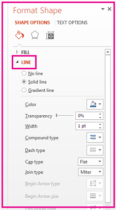 Di panel Format bentuk, di bawah garis, memformat batas.