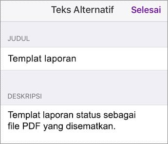 Menambahkan teks alt ke file yang disematkan di OneNote untuk iOS