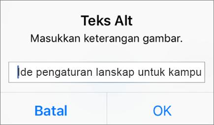 Outlook untuk Teks Alternatif iOS untuk menu gambar