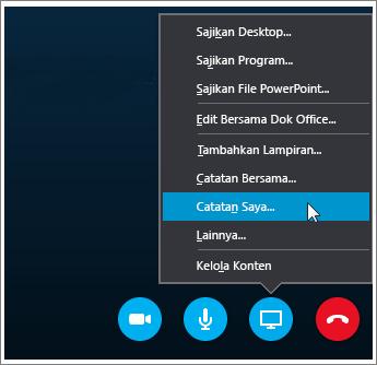Cuplikan layar cara berbagi OneNote 2016 dalam Skype for Business.