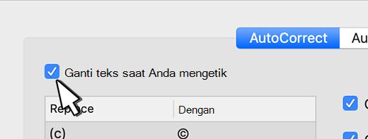 Kotak centang Ganti teks saat Outlook untuk Mac