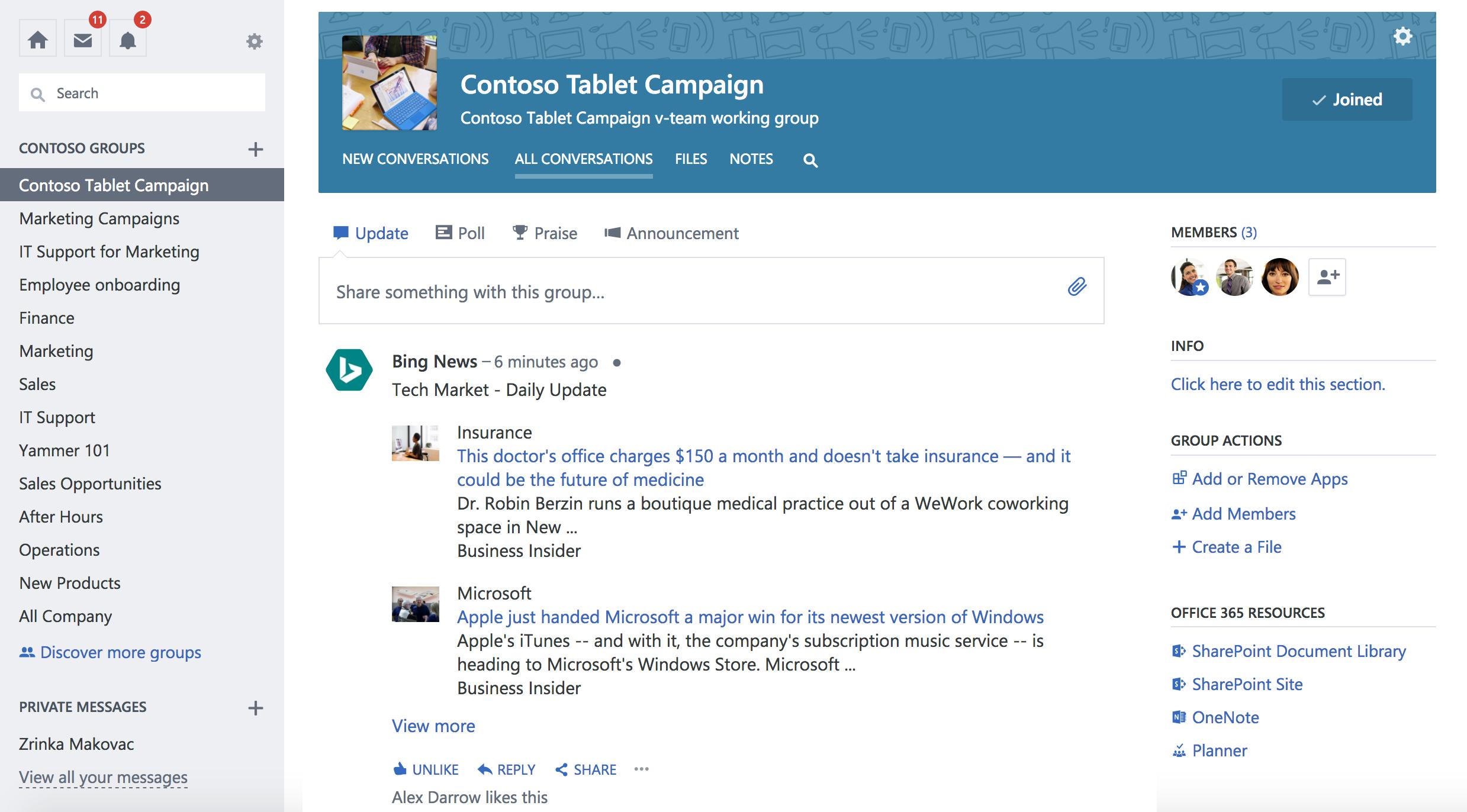 Cuplikan layar Grup pembaruan dari layanan pihak ketiga