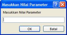 "Memperlihatkan contoh kotak dialog masukkan nilai Parameter yang diharapkan, dengan pengidentifikasi berlabel ""Masukkan ID karyawan"", bidang untuk memasukkan nilai, dan tombol OK dan Batal."