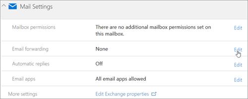 Cuplikan layar: Memilih Edit untuk mengonfigurasi penerusan email